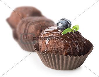 Three chocolate cakes