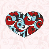 Vector Heart on  Seamless Abstract Monochrome Pattern