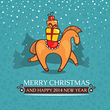 Christmas cute baby card with horse and gifts