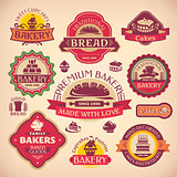 Set of vector vintage various bakery labels
