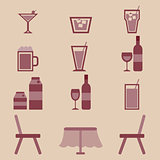Drinks icons set in restaurant