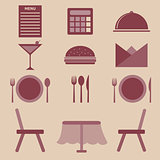 Set of restaurant icons on white background