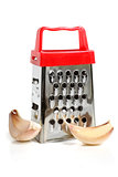 Metal grater and garlic