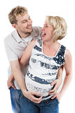 loving happy couple, smiling pregnant woman with her husband