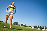 Fit, athletic woman determined to reach her goals