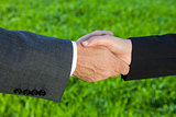 Businessman Man & Woman Businesswoman Handshake Shaking Hands