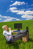 Businessman Relaxing Drinking Coffee Tea Green Field Desk