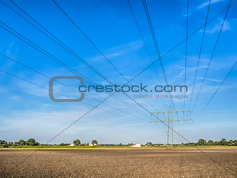 Power cable over a field