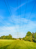 Power cable over green meadow