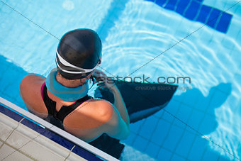 Female freediver at pool