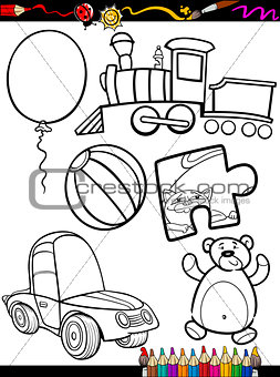 cartoon toys objects coloring page