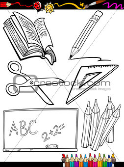 cartoon school objects coloring page
