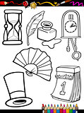 cartoon retro objects coloring page