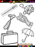 cartoon objects coloring page