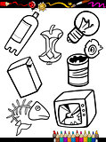 cartoon garbage objects coloring page