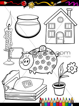 cartoon home objects coloring page