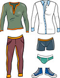 men clothes objects cartoon set