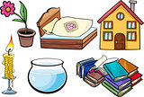 household objects cartoon illustration set