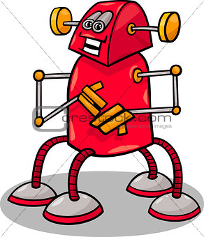 funny robot or droid cartoon illustration