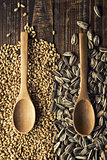 Wood spoons and grains