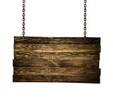 Wooden signpost hanging on chains