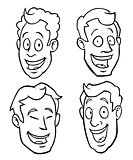 Black and white male cartoon faces