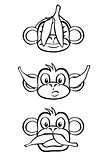 Three wise monkeys (black and white)