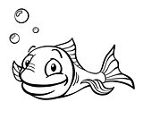 Black and white cartoon fish