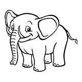 Black and white cartoon elephant