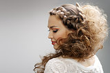 Pretty woman with curly hair