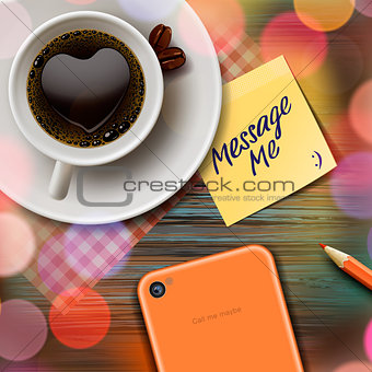 Autumn cup of coffee, tablet, stick note, vector Eps10 image.