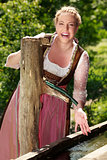 Laughing Bavarian girl
