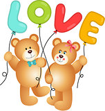 Cute Couple of Teddy Bear holding Love Balloon