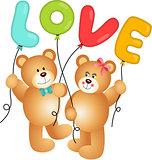 Cute Couple of Teddy Bear holding Love Balloon