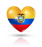 Love Ecuador, heart flag icon
