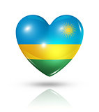 Love Rwanda, heart flag icon