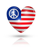 USA peace love symbol, heart flag icon