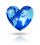 Love earth, heart icon
