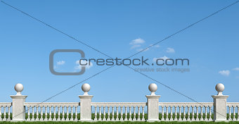 Classic balustrade on grass