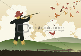 Armed scarecrow