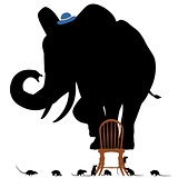 Scared elephant