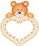 Teddy Bear holding Embroidered Heart