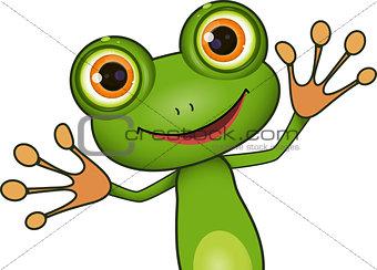 green cute frog