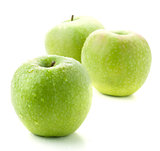 Three ripe green apples