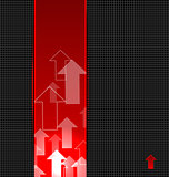 abstract red background with transparent arrows label