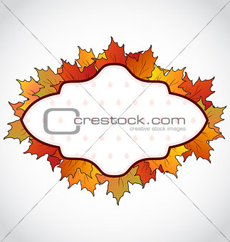 Autumnal card with colorful maple leaves