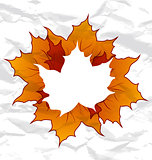 Autumnal maple leaves, crumpled paper texture, copy space for yo