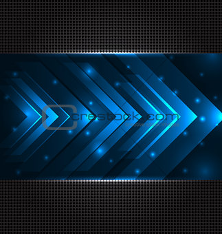 Abstract techno background with set transparent arrows