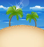 Summer holiday background with beach, palm, sky