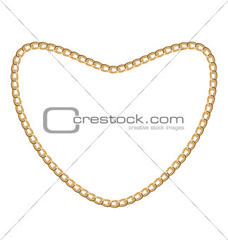 Jewelry golden chain of heart shape